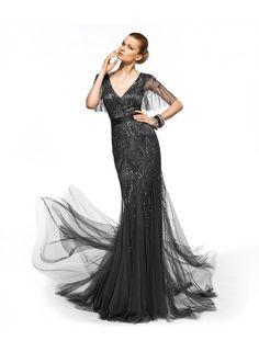 Elegant Straps V-neck Beading Floor Length Tulle Bridesmaid Dresses