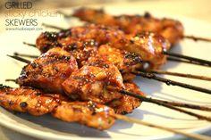 "Grilled ""Sticky Chicken"" skewers"