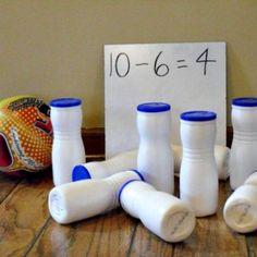 math tubs, subtract bowl, subtraction activities, water bottles