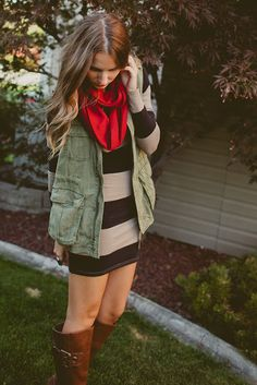 tall boots, sweater dresses, the dress, fall outfits, cargo vest outfit, tall girl outfits, stripe, fall dresses