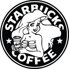 Disney Ariel Mermaid Princess Starbucks Logo Disney Decal Sticker! Perfect for The Disney Princess who loves her morning lattes!! Add your name to the cup if you like!