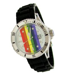 Rainbow wrist watch for gay and lesbian pride shopping. http://overtherainbowshop.com