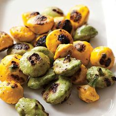 Grilled Pattypan Squash  Toss squash with olive oil, salt and pepper. Grill over medium-high until charred in spots, about 8 minutes.