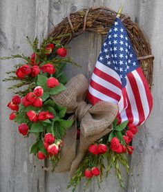 Patriotic Wreath, Americana, Summer Wreath, Fourth of July, Country Cottage, American Flag Wreath.