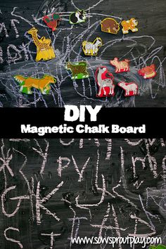 DIY Magnetic Chalk Board from Sow Sprout Play
