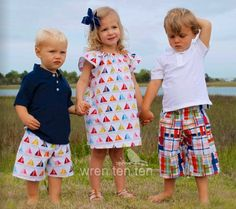 BROTHER SISTER SET girl's flutter sleeve dress with matching boys shorts in sailboat fabric - many sizes. $50.00, via Etsy. #siblingset #brothersisterset #sailboats #summer #baby #toddler #boys #girls #twins #twinset #wrententen #plaid #etsy #pinterest