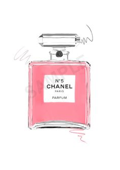 Pink Chanel No. 5 Paris Parfum.  perfume fashion illustration by RKHercules.