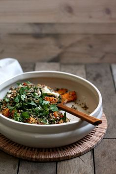 Quinoa salad with pumpkin, feta, ginger & coriander