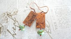 Copper Rectangle Natural Patina With Green by daydreamjewels,