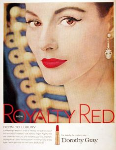 dorothi gray, lipsticks, gray lipstick, cat eyes, makeup, vintag advertis, beauty, vintage ads, red lipstick