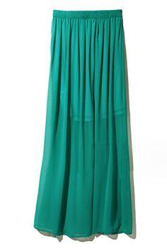 Pleats Embellished Emerald Skirt  $36.99  #romwe  romwe.com