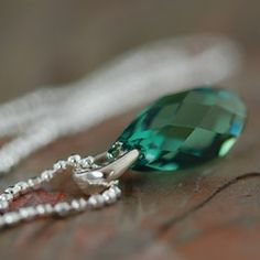 Earthy green swarovski crystal necklace on Italian sterling chain
