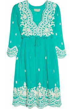 Leaves of Grass | Aria embroidered silk-chiffon dress | NET-A-PORTER.COM