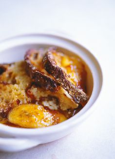 Nigel Slater's Spiced Bread & Butter Pudding with Fried Bananas