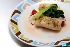 Sheldon Simeon's Pan-Roasted Halibut with Tomato Sauce, Sesame Bok Choy & Pickled Radish