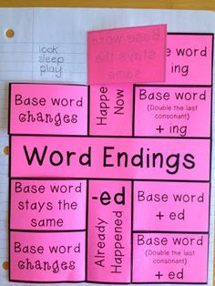 I Love 2 Teach: Word Endings Foldable {Freebie}