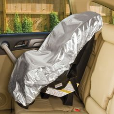 Car Seat Infant Sun Shade: 95 degrees in your car? With this powerfully cooling sun shade, you can keep your child's car seat around a comfortable 69 deg F! That's right: in performance tests, the heat-deflecting cover lowered temperatures by an average of 26 deg . With elasticized edge for easy on/off. Folds flat and loops closed for compact storage