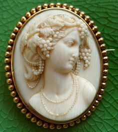 Bacchante cameo brooch in ivory