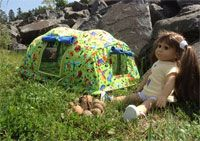 """Backwoods Bungalow Tent Pattern from Sisters Common Thread at KayeWood.com. Your 18"""" doll will love camping with you in the backwoods OR your bedroom in this clever free-standing tent.  Self-supporting, this tent really does stand up until you decide to take it down. http://www.kayewood.com/item/Backwoods_Bungalow_Tent_Pattern_for_18_Dolls/2867 $10.00"""