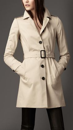 Burberry - MID-LENGTH COTTON BLEND SINGLE BREASTED TRENCH COAT