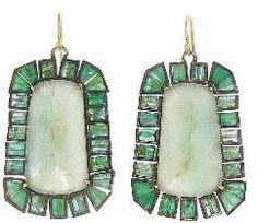 Nak Armstrong Large Emerald Mosaic Earrings