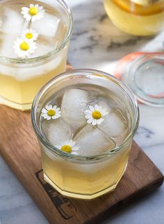 Chamomile honey and whiskey cocktail.