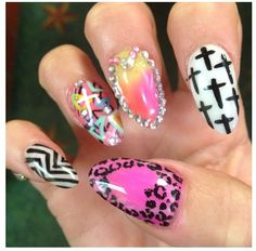 Pink cross stiletto dope nail design ideas