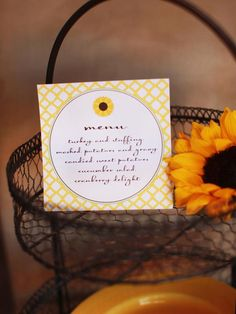 Tempt your guests by placing a printed menu of the day's courses on the dessert buffet or at each place setting. This way they know what to look forward to — and will be sure to save room for dessert.  Print>> http://www.hgtv.com/entertaining/sunflower-themed-thanksgiving-dessert-buffet/pictures/page-17.html?soc=pinterest