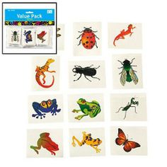 """Nature Temporary Tattoos - Insects and Reptiles (6 dz) by Fun Express. $7.66. 6 dozen per set. Easy wash off. Assorted Insect & Reptile Tattoos. Non - toxic tattoos. Measure about 2"""" each. Nature tattoos feature insects like ladybugs, butterflies and creepy bugs, too. Tattoos also come in reptile designs like frogs and lizards. These 2"""" temporary tattoos are great party favors, prizes and fun little gifts for kids who love the outdoors and everything creepy crawly. Non-toxic ..."""