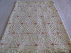 Swedish Weaving Monks Cloth Baby Blanket done on Yellow Cloth with Peach and Peach/White Varigated Yarn via Etsy