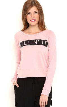 Deb Shops Long Sleeve French Terry Top with Killin It Screen