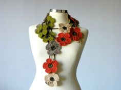 Crochet lariat scarf   handmade crochet flower by yarnisland, $20.00