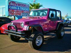 Pink Jeep Wrangler 2dr SE pink car, pink truck pink SUV