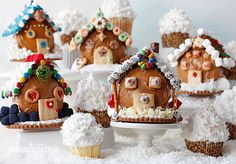 Merry Christmas scene of cupcakes cake rolls, fun craft, christmas villages, gingerbread houses, christmas scenes, food fun, christmas cupcakes, christmas houses, christmas gingerbread