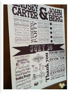 Wedding program, Wedding poster program, poster program, wedding program. $2.00 USD, via Etsy.