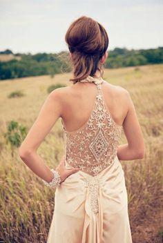 stunning back on champagne wedding dress