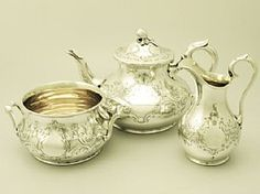 A fine and impressive antique Victorian sterling silver three-piece tea service / set with Newcastle interest; part of our antique silver teaware collection