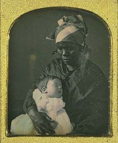DaguerreotypeofGeorgina Holmes and Her Nurse. The family, originally from Louisiana, moved their household to New York City whereupon the slaves were released. The nurse depicted in this daguerreotype chose not to leave the household.