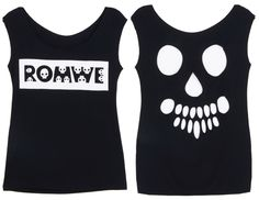 "Cut-out Skull ""ROMWE"" Black T-shirt"