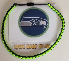 Seattle Seahawks paracord necklace perfect for the Seahawks fan! Made with 10 feet of paracord that will last forever. Buy one ready made or make your own with our supplies from survivalbraceletkits.com