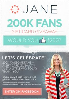 Jane.com is giving away $200 to FIVE winners to celebrate! Join in the fun!!!