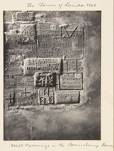 Photograph depicting inscriptions carved by prisoners in the Beauchamp Tower, Tower of London, by Sir Benjamin Stone, 1898
