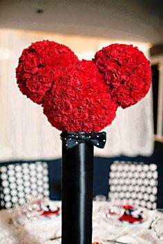 birthday parti, mickey mouse, disney parties, flower centerpieces, retro disney, birthdays, parti idea, disney weddings, hidden mickey