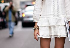 Ruffles. fashion, cloth, white outfits, the dress, street styles, white lace, closet, little white dresses, natalia alaverdian