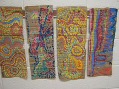 """These 3-5th graders discovered the traditional artwork of Australia as we learned about Aboriginal Art.   Aboriginal means """"first"""" or """"original.""""  This artwork, often found on cave walls and pieces of tree bark, was created by the original inhabitants of Australia.  Unusual patterns made from tiny dots filled the space surrounding it, creating an Aboriginal """"Dot painting."""""""