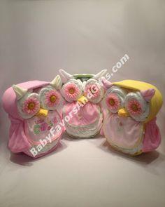 Kooky-Owl Diaper Cake http://babyfavorsandgifts.com/kookyowl-diaper-cake-p-420.html