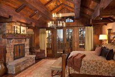 rustic bedrooms, cabin, fireplac, bedroom design, timber homes, master bedrooms, mountain lodge, dream bedrooms, rustic lighting