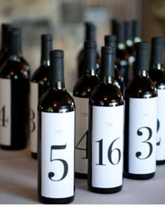 table numbers - but change to champange