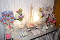 Sparkly Paris themed baby shower dessert table!   See more party planning ideas at CatchMyParty.com!
