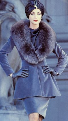 stunning 1960's style coat with fur trim.